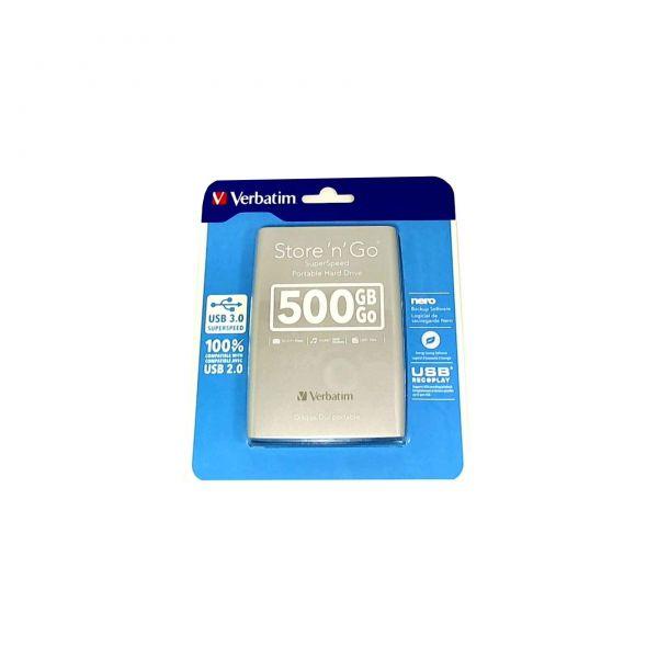 "500GB extern USB 3.0 Festplatte Verbatim 6,35cm(2,5"") silver"