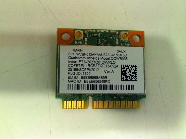 Wireless Adapter Notebook WLAN Modul für Acer TravelMate P255 Atheros QCWB335 - gebraucht Artikel -