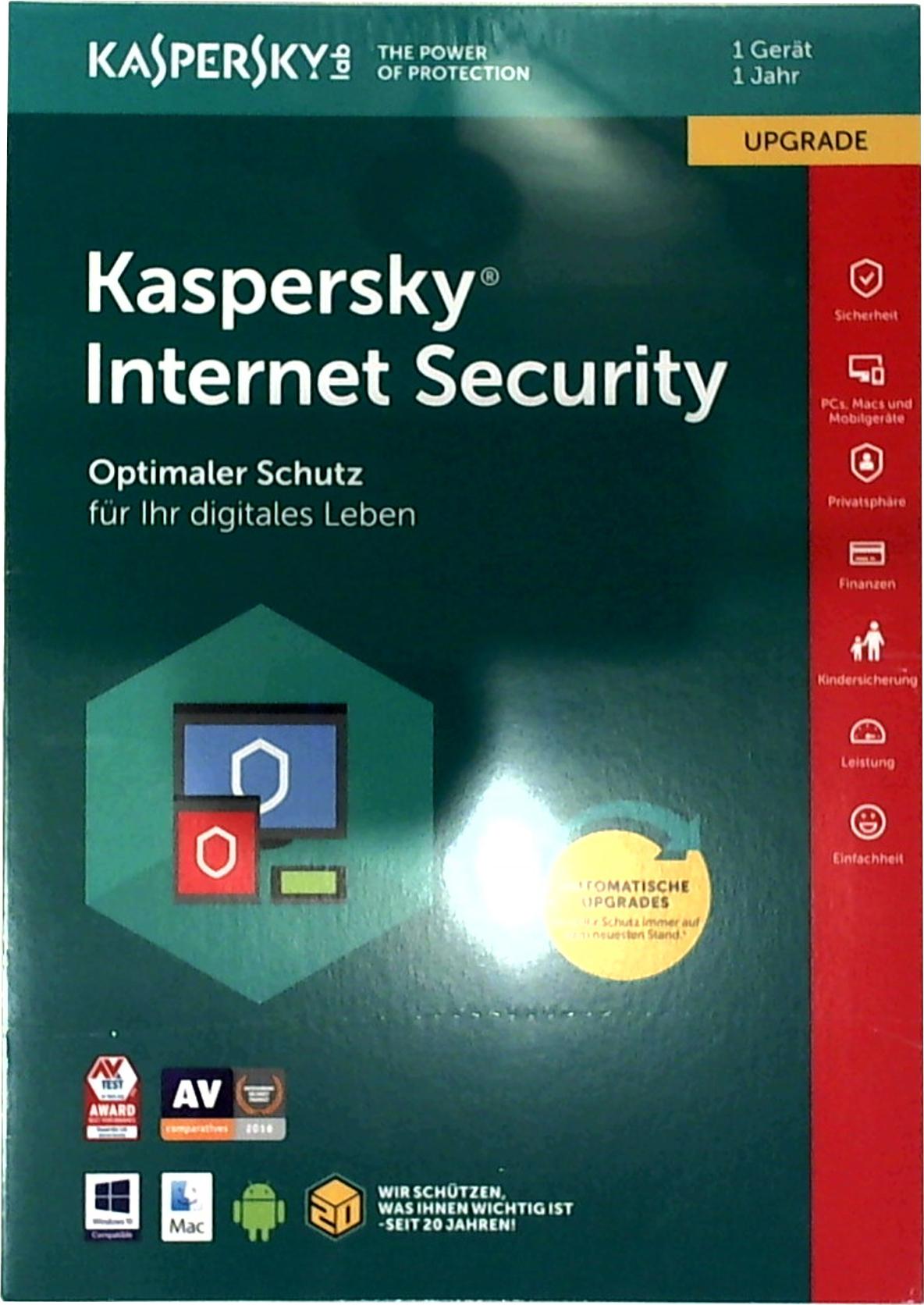 kaspersky internet security 1 user upgrade ffp box anwendungs software software. Black Bedroom Furniture Sets. Home Design Ideas